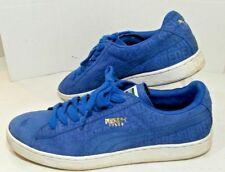 PUMA Blue Suede Leather Low Top Casual Sport Court SNEAKERS Shoes Mens11D EUC