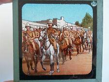 Military Theme Rare Coloured Lithographic Magic Lantern Slide No 59 - Soldiers