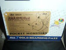 Pokemon JAPAN !! ANA AIRLINES ~~~PIKACHU~~~ GOLD BOARDING PASS PROMOTIONAL MINT