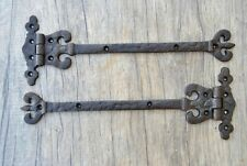 VTG pair cast iron heavy Duty french Gothic trunk door window arrow large hinges