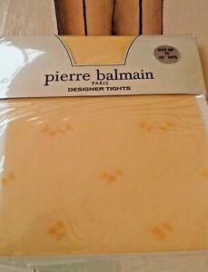 Vintage Pierre Balmain Designer Tights  Bow Pattern Marigold