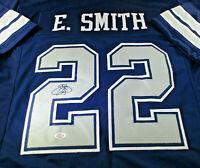 EMMITT SMITH / NFL HALL OF FAME / AUTOGRAPHED DALLAS COWBOYS CUSTOM JERSEY / COA