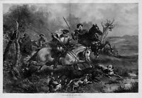 HUNTING WILD BOAR IN THE OLDEN DAYS HORSES DOGS SPEAR HUNT ANTIQUE ENGRAVING