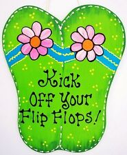 Kick Off Your Flip Flops Sign Tropical Tiki Bar Pool Patio Beach Wood Plaque