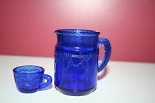 lot of 2 blue glass pieces pitcher and Summit cup