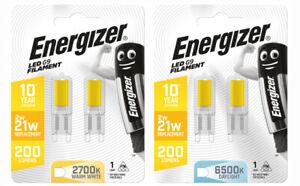 2Pk Energizer G9 LED Bulbs Light Lamp 10Yr 2w/21w 200Lumens Warm White Daylight