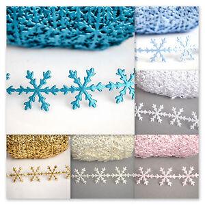 Christmas Snowflakes Felt Satin lace trim cut out ribbon 1 YARD Festive Trimming