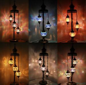 Beautiful 3 Balls Handmade Turkish Moroccan Colourful Glass Light Floor Lamp