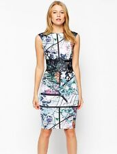 Womens Graphic Floral Lace Dress Digital Print Fashion Cocktail Knee Length