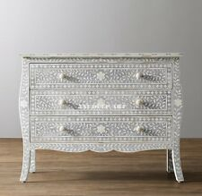 Bone Inlay Grey Floral Design Curved Dresser Chest of Drawer Sideboard
