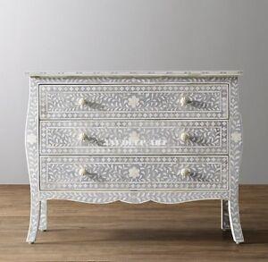 Bone Inlay Grey Floral Design Curved Dresser Chest of Drawer Sideboard