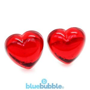 Bluebubble SWEETHEART Glass Effect Heart Earrings Cute Retro 80s Love Rockabilly