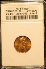 1970 S/S  Lincoln Cent - RPM-002 , WRPM-003 MS65 Red ANACS