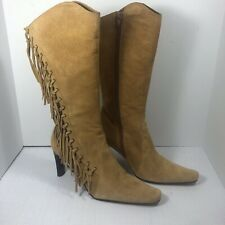 MIxIT Wheat Suede Leather Fringed Side Zip Heeled Boots Sz.7M