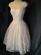 VTG 50s PINK LACE COCKTAIL PROM DANCE PARTY DRESS GOWN FULL SWING SKIRT S 34