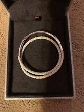 RARE SMALL SOLD OUT Christofle Sterling Silver & Cream Leather BraceletDUO