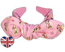 Girls Top Knot Headband/Turban With Bow- Mickey/Minie Mouse- Handmade in London