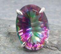 925 Silver MYSTIC TOPAZ Ring Sz L,M,N,P,R R660~Silverwave*uk Jewellery