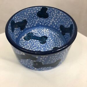 Stoneware Crock Dog  NWT Dish Blue /White with Dog Biscuit