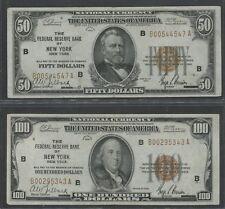 FR1880-B, FR1890-B $50 & $100 FRBN -- NEW YORK -- CHOICE AU BU5926