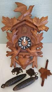 Vintage Cuckoo Clock Carved Wood Black Forest Germany Moving Birds Chicks Nest
