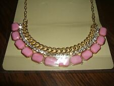 Fashion Pink Acrylic Cluster Rhinestone Yellow GP Stmt. Charm Pendant Necklace