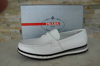 PRADA Gr 40  6 Slipper Halbschuhe Mokassins Schuhe shoes weiß grau NEU UVP 370€
