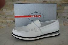 PRADA 40 talla 6 Mocasines Zapato Cerrado Tipo Mocasín Zapatos blanco gris NUEVO