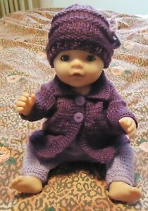 Purple Cardigan/Top Trousers w Beanie Baby Born Knitted Clothes Doll 38-42cm