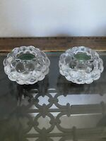 2 Danish Design Clear Crystal Tea Light Candle Holders Paperweights Heavy