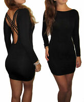 Womens Ladies Backless Mini Party Bodycon UK Dress Black Size 8 10 12 14 16 18
