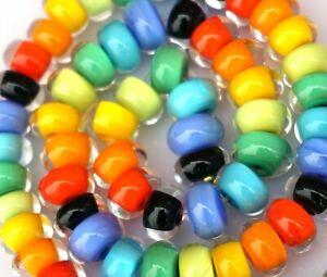 FRISKEY handmade Lampwork Glass Beads, RAINBOW ENCASED SPACERS !!!