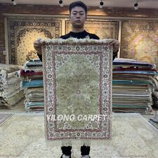 YILONG 2'x3' Green Handwoven Silk Area Rug Living Room Antistatic Carpet HF108B