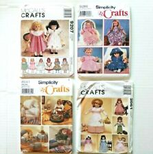 """18"""" Doll Pattern Lot Clothes & Furniture Simplicity 86419286 & McCalls 9207 2061"""