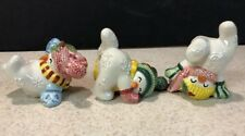 Fitz & Floyd 3 Tumblers Snowman Frosty Friends Ceramic Figurines
