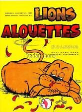 Vintage CFL Program  Montreal Alouettes at B.C. Lions  Aug.21 /61 Willie Fleming
