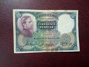 SPAIN - 50 PESETAS 1931 - BANKNOTES