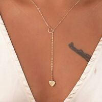 Gold Plated Choker Charms Long Heart Chain Link Pendant Necklace Fashion Jewelry