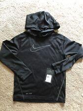 NWT Youth Black Hooded Thin Nike Long Sleeve Shirt Size 7 Small Mesh. Dri Fit