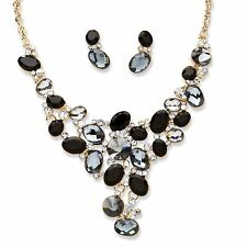 PalmBeach Jewelry Black and Grey Crystal Gold Tone Necklace and Earrings Set