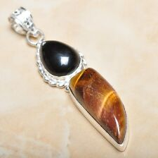 "Handmade Golden Tiger's Eye Gemstone 925 Sterling Silver Pendant 2.75"" #P09205"
