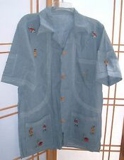 Mens vintage denim embroidered shirt with ethnic African /South American scene