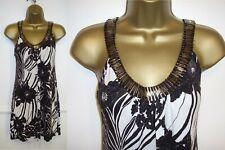 WALLIS black/white dressy halterneck tunic top embellished neckline med UK 10-12