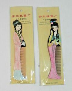 Pair Changzhou Handpainted Wooden Hair Combs - Geisha Princess Shaped  New