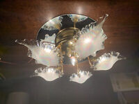 Murano Iridescent Handblown Glass Ceiling Flush Light, Gold Plated Pearl Vintage