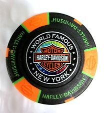 HARLEY-DAVIDSON WORLD FAMOUS WOODSTOCK(NY) POKER CHIP - BLACK W/ORANGE