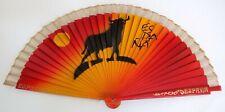 "Wooden SPANISH ""ESPANA"" Folding Hand Fan Bull's Figure & Sun Red/Yellow 9""x16.5"""