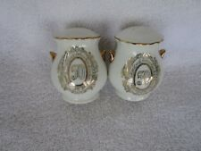 50th Anniversary Salt & Pepper Shakers - White with Gold Trim and Imprint!!~NICE