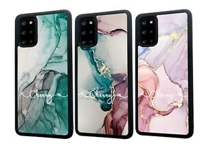 PERSONALISED Name Marble Silicone Phone Case Cover Samsung S20 FE S21 Plus Ultra