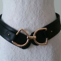 Stretchy Women's Waist Belt Faux Leather Gold Tone Buckle Size Small